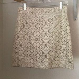 Cream lace Loft skirt